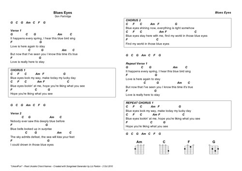 Blue Eyes – Don Partridge – Uke Chords [Key G], Lyrics and mp3 ...
