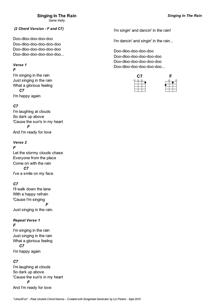 Ukes4fun Song Practice No 4 Singing In The Rain Two Chord Version