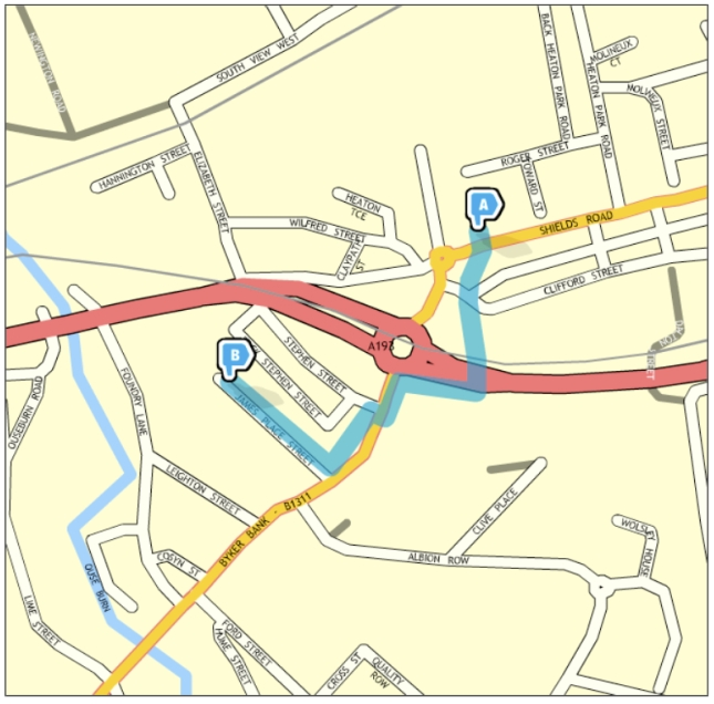 Map showing pedestrian route as descibed in body of text
