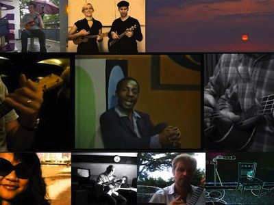 Collage of clips from YouTube videos of versions of Sunny