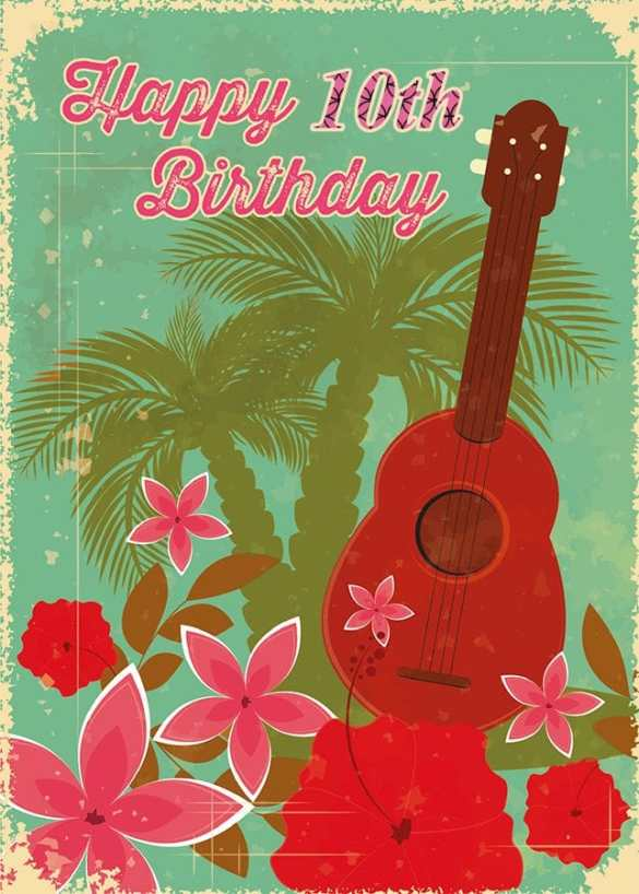 2019-10-19 Happy Birthday Vintage Hawaiian Ukulele Card 10th optim